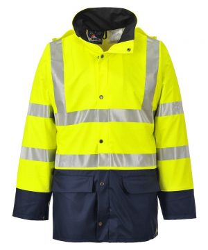 Portwest Sealtex Ultra Unlined Two Tone Hi Vis Jacket S496 Yellow and Navy Blue Colour