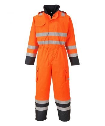 PPG Workwear Portwest Bizflame Rain Hi Vis Multi FR Coverall S775 Orange and Navy Blue Colour
