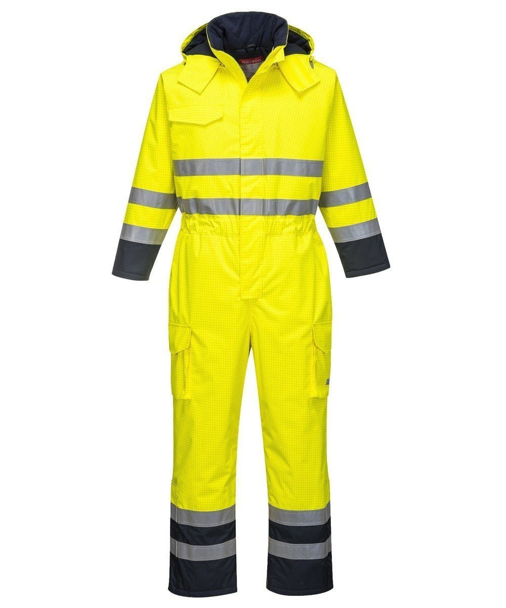 PPG Workwear Portwest Bizflame Rain Hi Vis Multi FR Coverall S775 Yellow and Navy Blue Colour