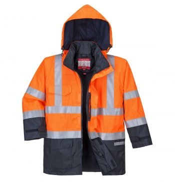 Portwest Bizflame Rain FR Multi Protection Jacket S779 Orange and navy Blue Colour