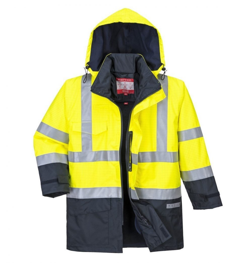 Portwest Bizflame Rain FR Multi Protection Jacket S779 Yellow and Navy Blue Colour