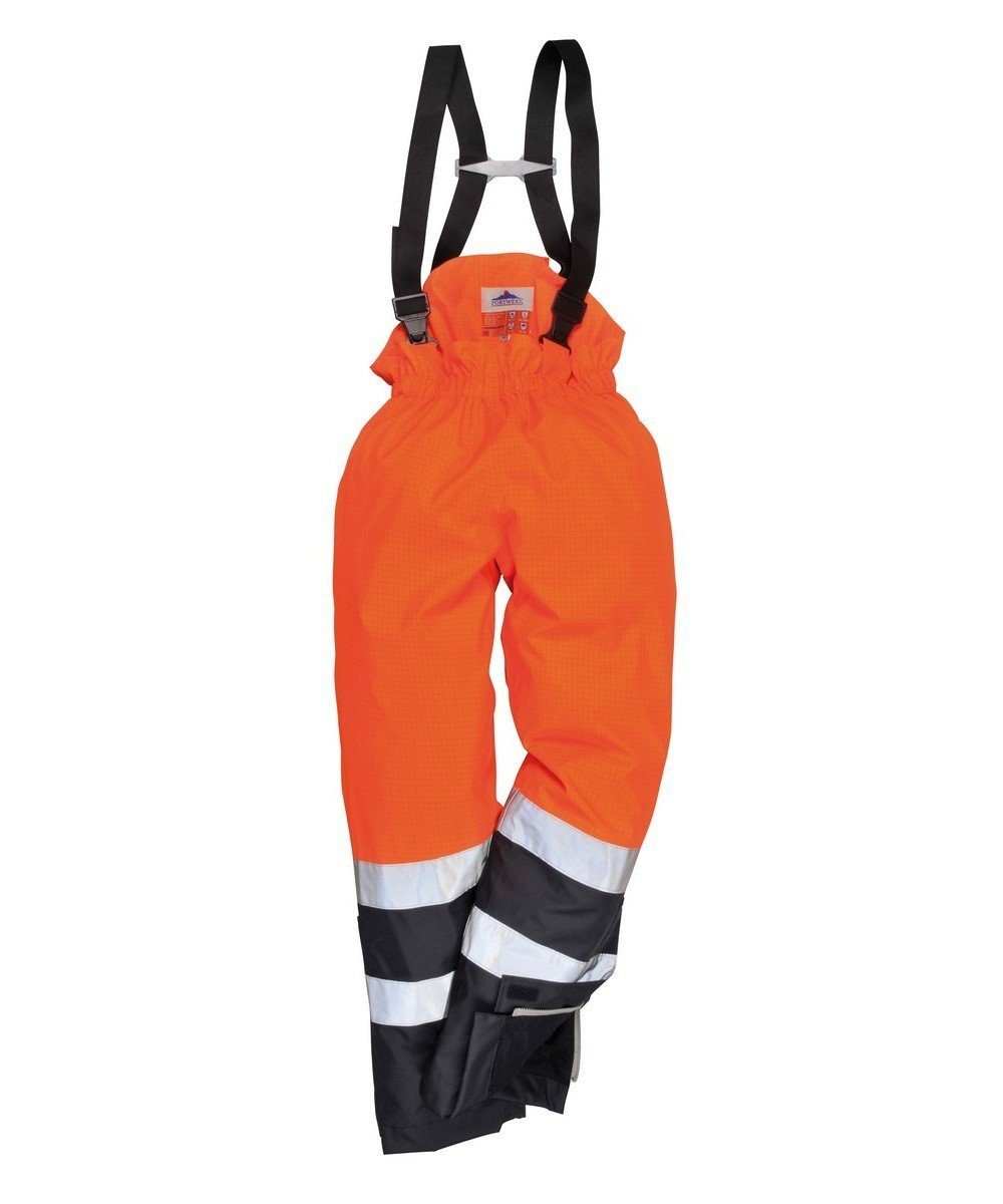 Portwest Bizflame Rain FR Multi Protection Trousers S782 Orange and Navy Blue Colour