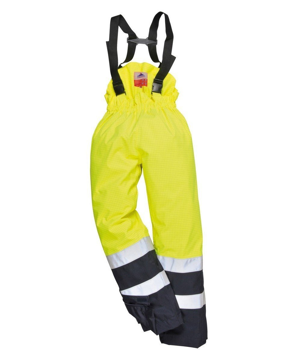 Portwest Bizflame Rain FR Multi Protection Trousers S782 Yellow and Navy Blue Colour