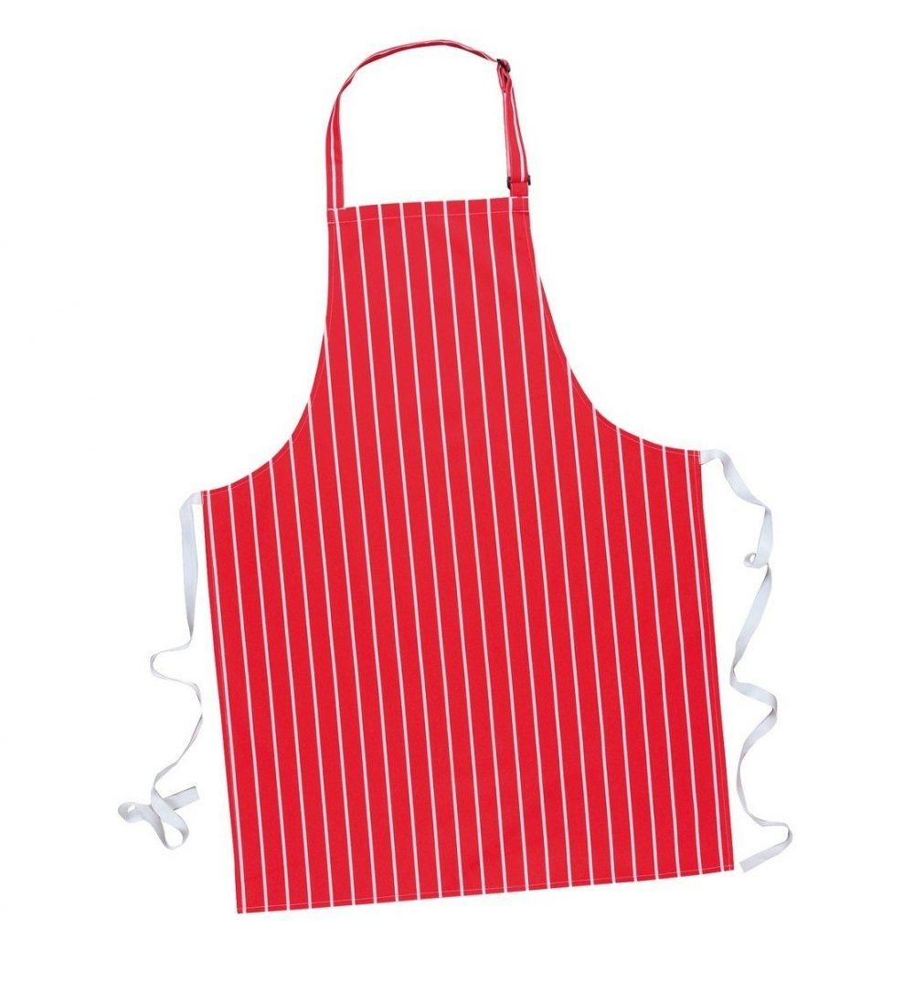 PPG Workwear Portwest Butchers Bib Apron Without Pocket S839 Red Colour with White Stripes