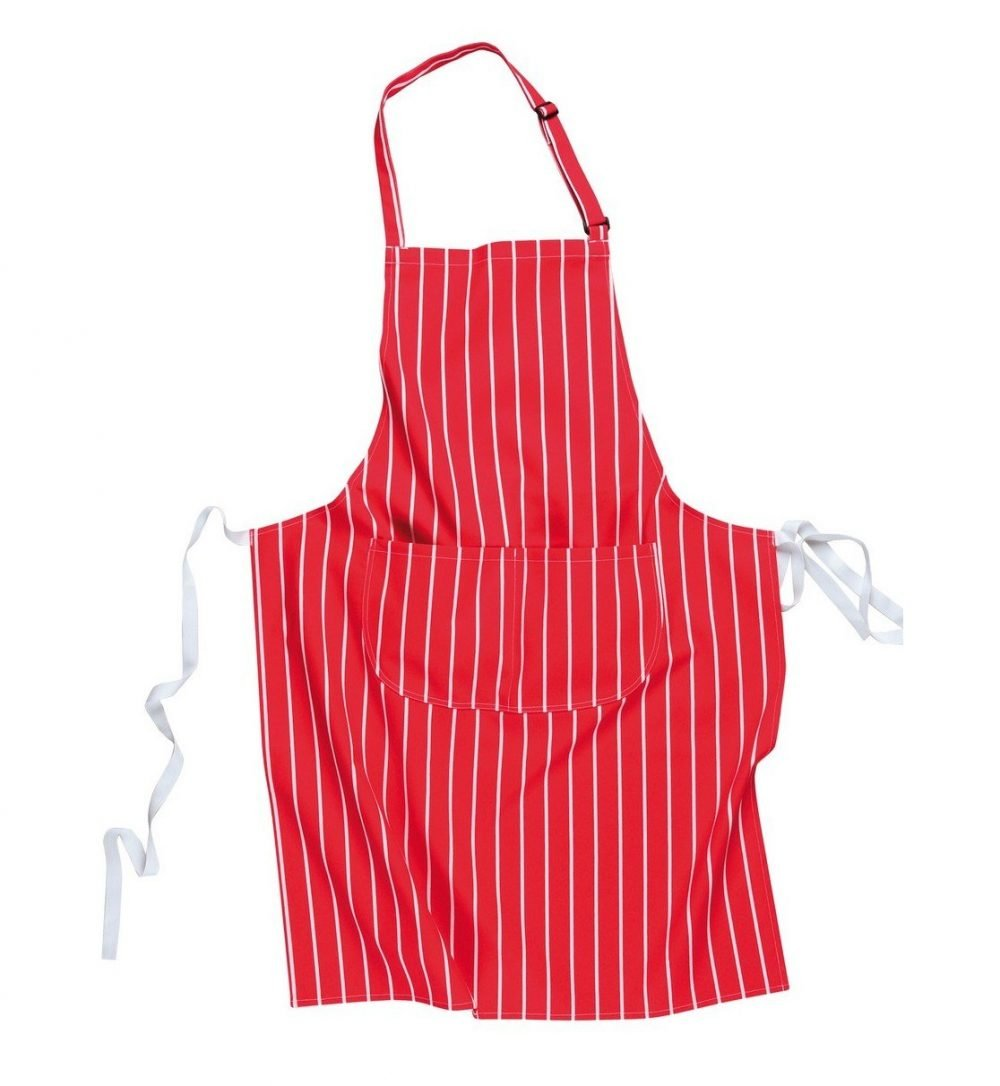 PPG Workwear Portwest Butchers Bib Apron With Pocket S855 Red Colour with White Stripes