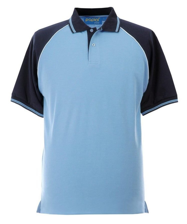 Papini Elite Polo Shirt EL1 Sky Blue Navy Blue and White Colour