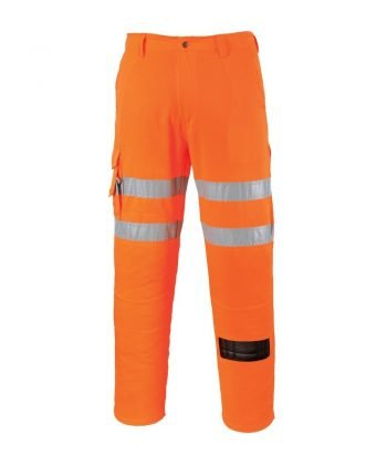 PPG Workwear Portwest Hi Vis Rail Combat Trousers RT46 Orange Colour