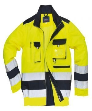 PPG Workwear Portwest Texo Hi Vis Jacket TX50 Yellow and Navy Blue Colour