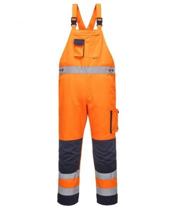 PPG Workwear Portwest Texo Hi Vis Bib/Brace Orange and Navy Colour TX52