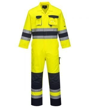 PPG Workwear Portwest Texo Hi Vis Coverall Yellow and Navy Colour TX55