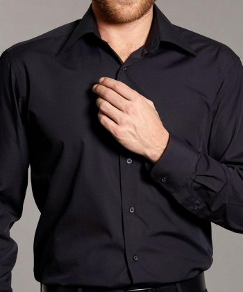 PPG Workwear Disley Mens Classic Black Shirt Cuff Detail