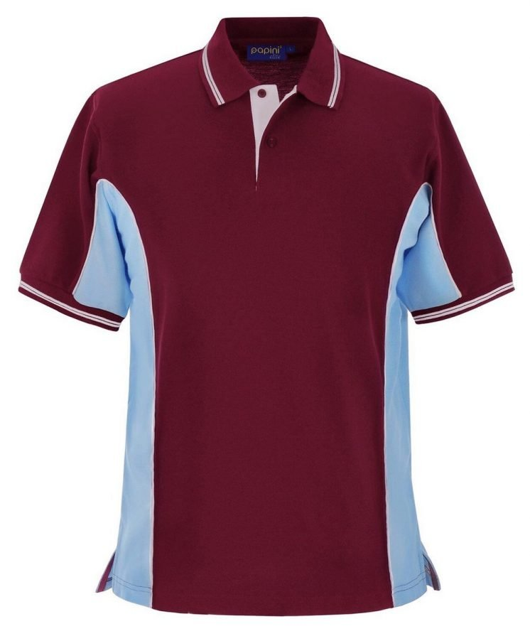 Papini Elite Polo Shirt EL1 Wine Sky Blue and White Colour