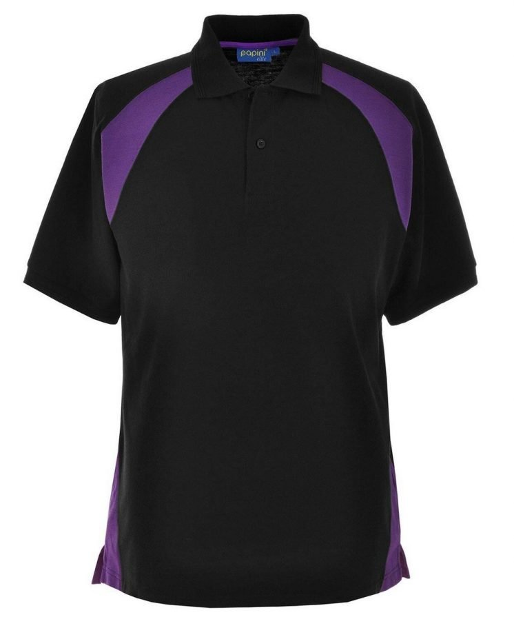 Papini Elite Polo Shirt EL1 Black and Purple Colour