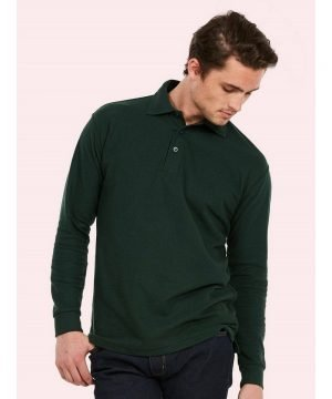 PPG Workwear Uneek Long Sleeve Polo Shirt UC113 Bottle Green Colour