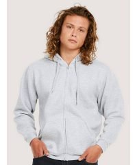 PPG Workwear Uneek Adults Full Zip Hooded Sweatshirt UC504 Heather Grey Colour