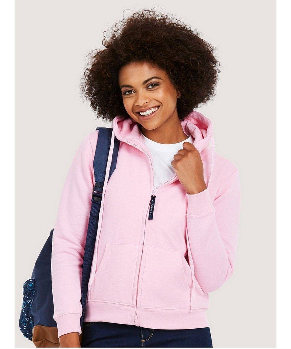 PPG Workwear Uneek Ladies Full Zip Hooded Sweatshirt UC505 Pink Colour
