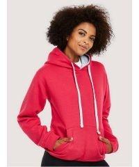 PPG Workwear Uneek Contrast Hooded Sweatshirt UC507 Fuchsia and Heather Grey Colour