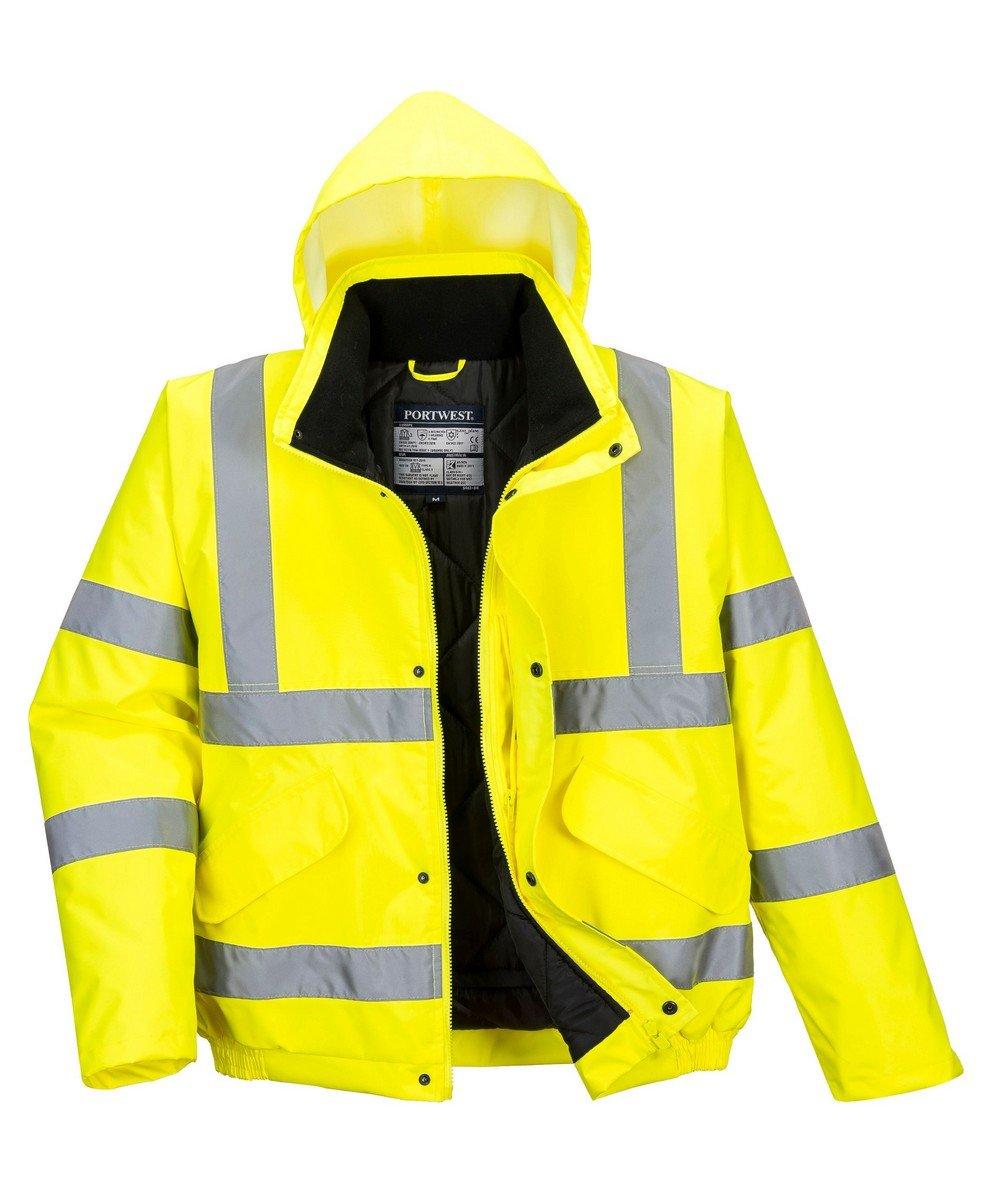 Portwest Yellow Hi Vis Bomber Jacket S463 Yellow Hood