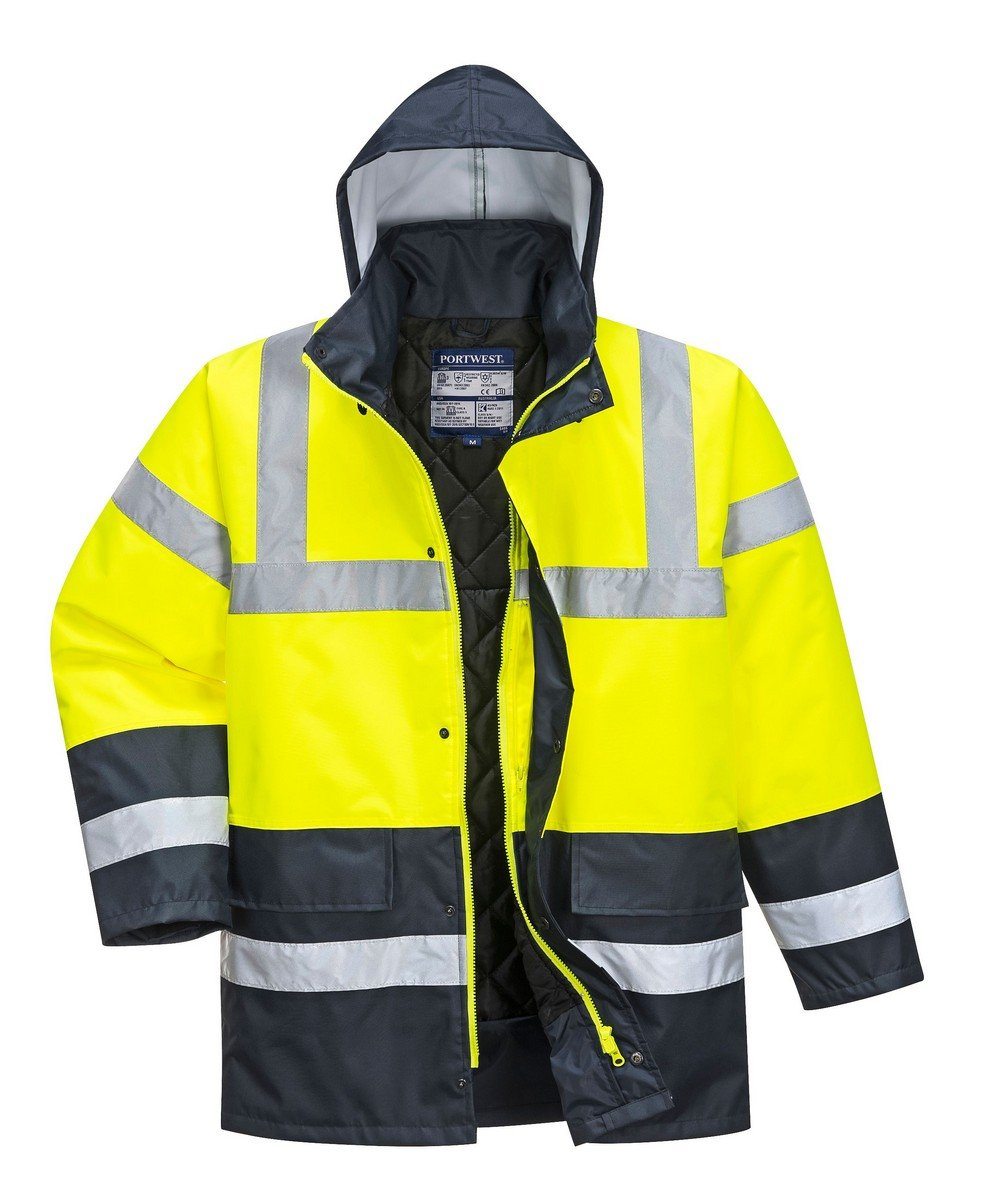 PPG Workwear Portwest Yellow/Navy Hi Vis Traffic Jacket S466