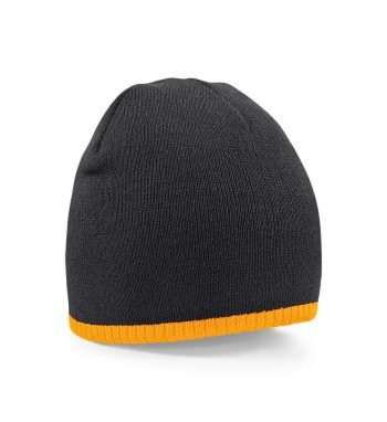PPG Workwear Beechfield Two-tone Knitted Beanie Hat B44C Black and Orange Colour