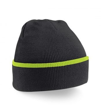 PPG Workwear Beechfield Teamwear Beanie B471 Black and Lime Colour