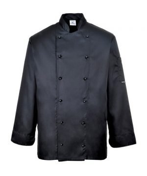 PPG Workwear Portwest Somerset Black Chefs Jacket C834 Long Sleeves