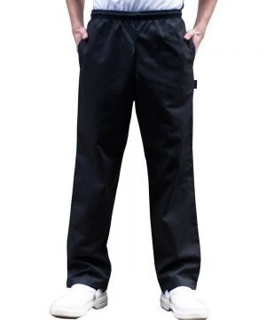 PPG Workwear Dennys Fully Elasticated Chefs Trousers DC18B Black Colour