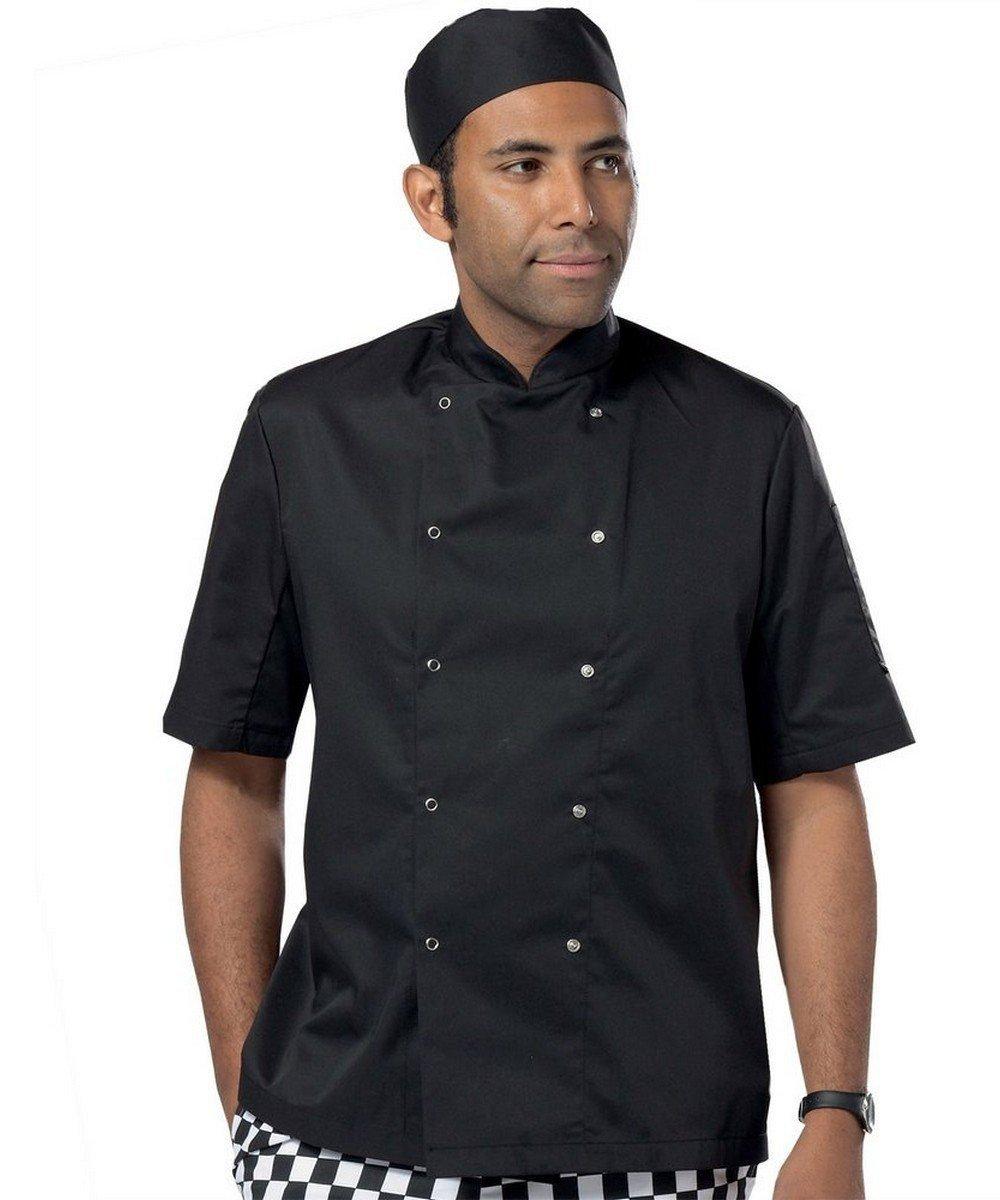 Dennys Lightweight Short Sleeve Chefs Jacket DD08CS Black Colour