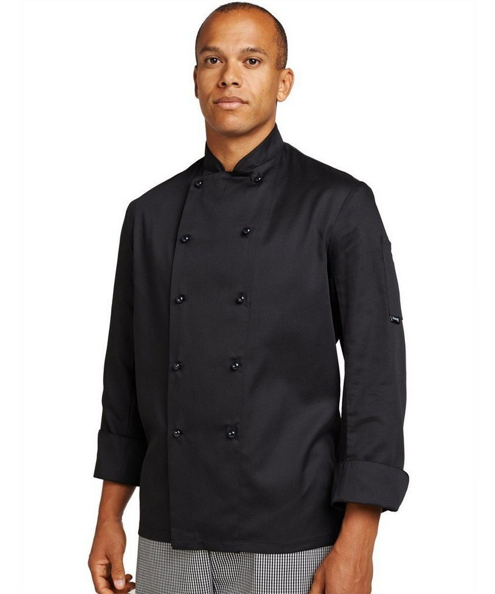 PPG Workwear Dennys Removable Stud Chefs Jacket DD20 Black Colour Lon Sleeve