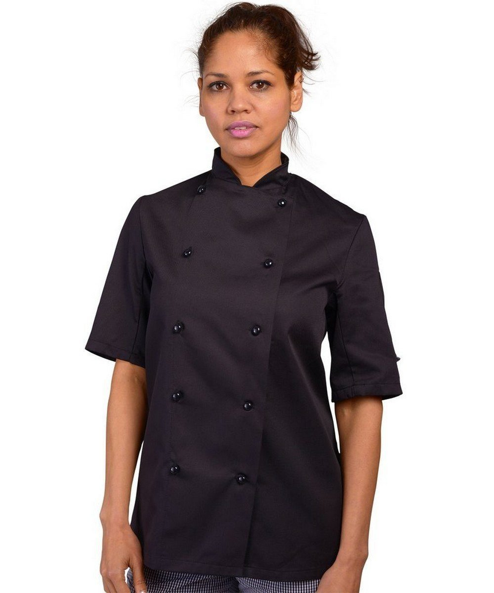 Dennys Removable Stud Chefs Jacket DD20 Black Colour Short Sleeve