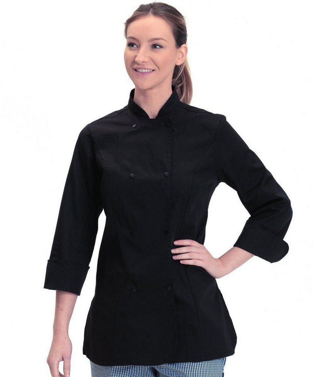 Dennys Womens Standard Length Chefs Jacket DD33 Black Colour with Long Sleeve