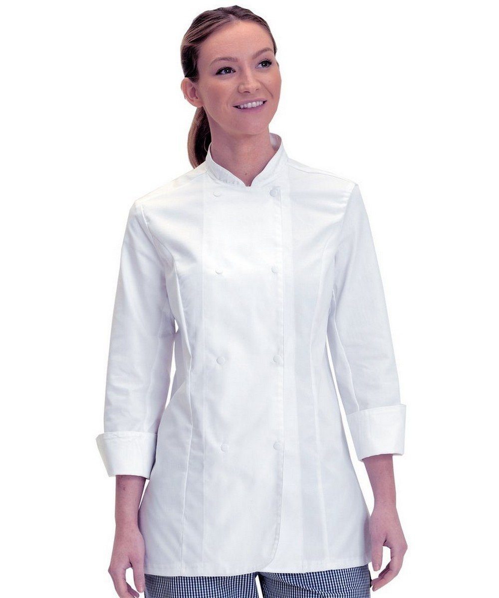 PPG Workwear Dennys Womens Standard Length Chefs Jacket DD33 White Colour with Long Sleeve