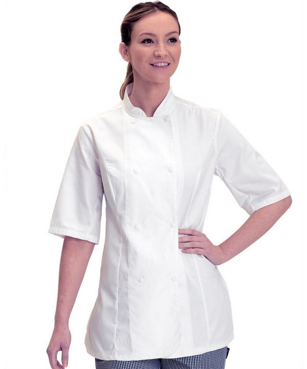 Dennys Womens Standard Length Chefs Jacket DD33 White Colour with Short Sleeve