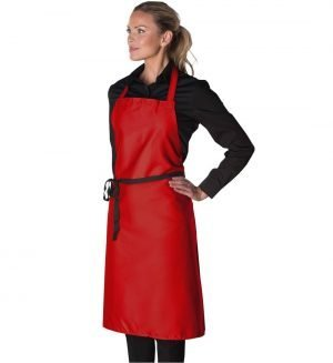 PPG Workwear Dennys Narrow Bib Apron Without Pocket DP10NQ Red Colour
