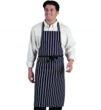 PPG Workwear Dennys Navy Butchers Stripe Bib Apron DP36 Navy Blue and White Stripes Colour