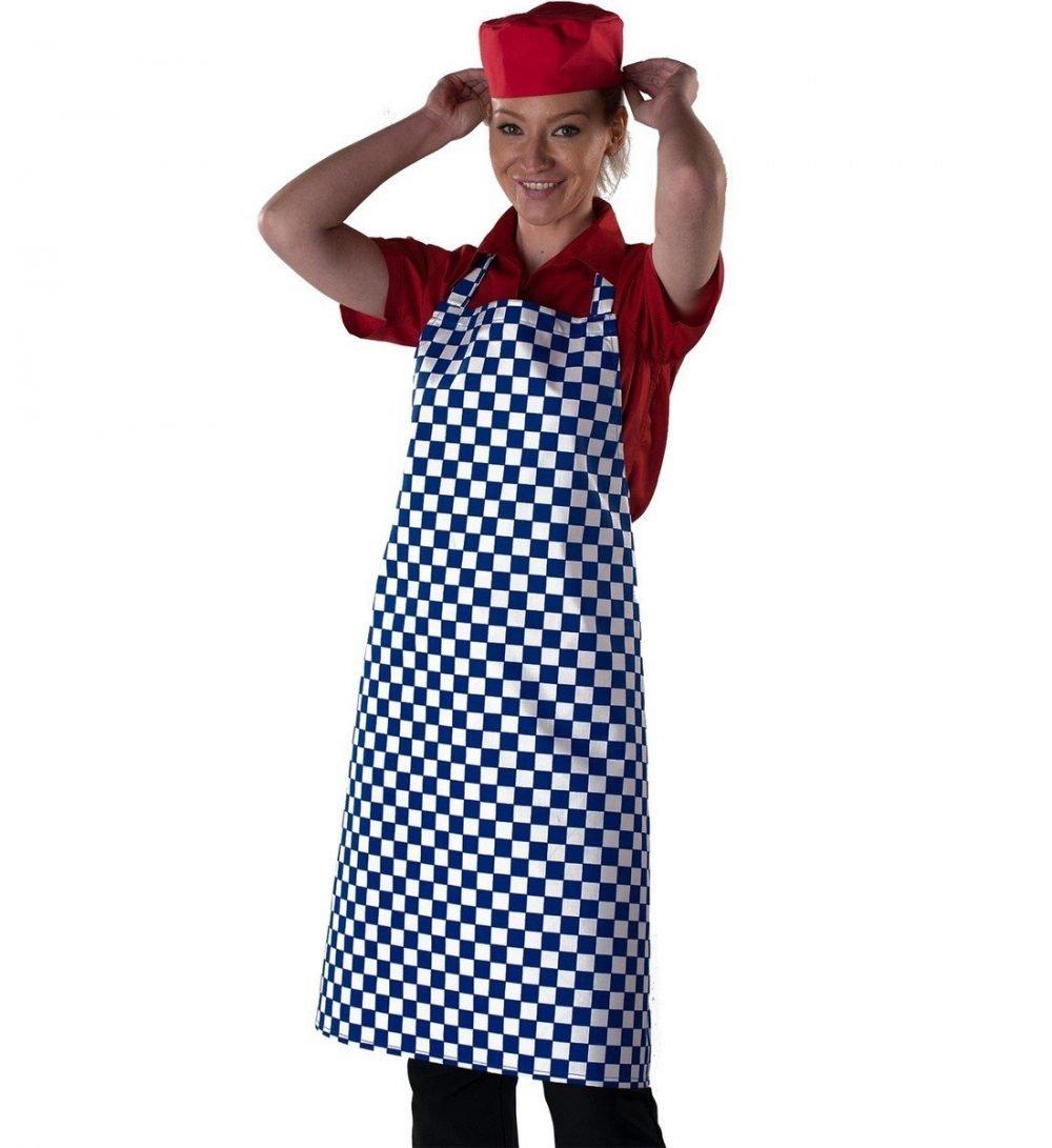 PPG Workwear Dennys Check Bib Apron DP44 Blue Check Colour