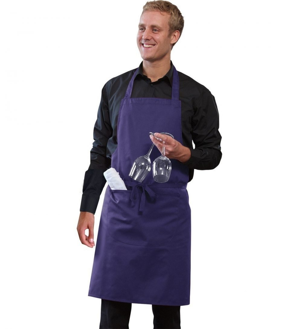 PPG Workwear Dennys Bib Apron With Pocket DP55 Purple Colour