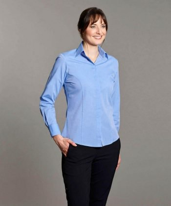 Disley Womens End on End Blouse Light Blue Colour Long Sleeve