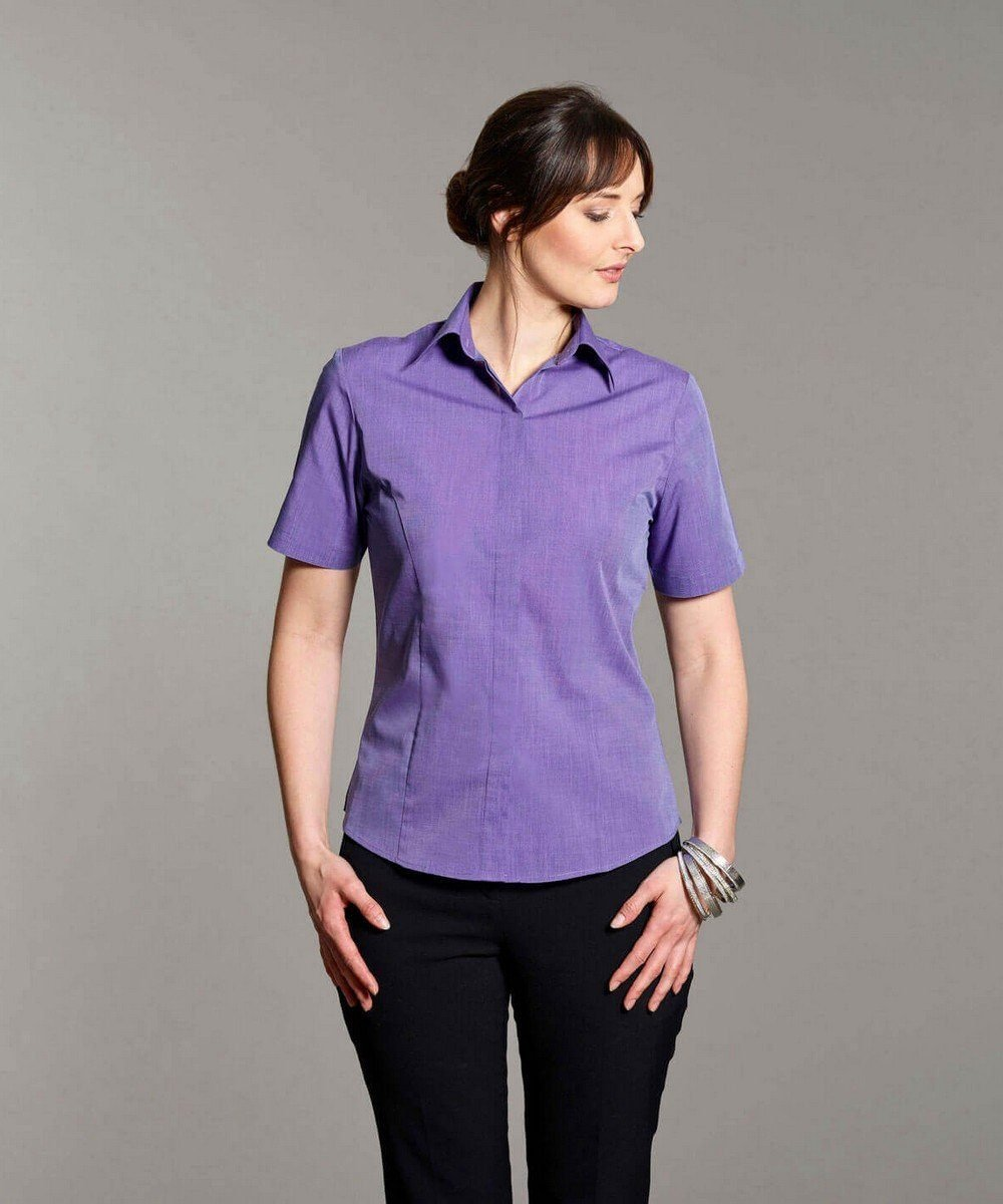 PPG Workwear Disley Womens End on End Blouse Purple Colour Short Sleeve