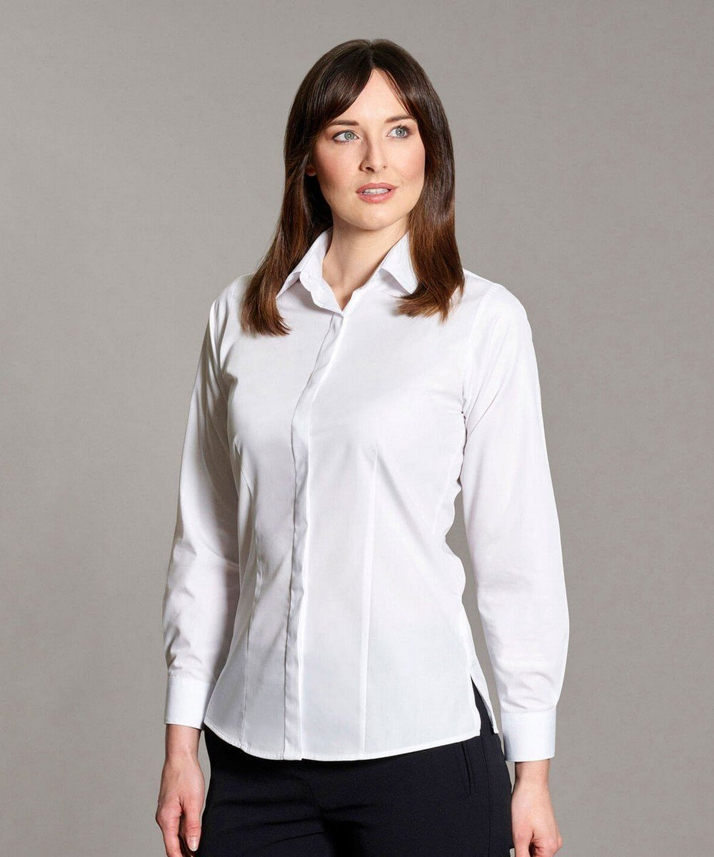 Williams Womens Fly Front Blouse White Colour Long Sleeve