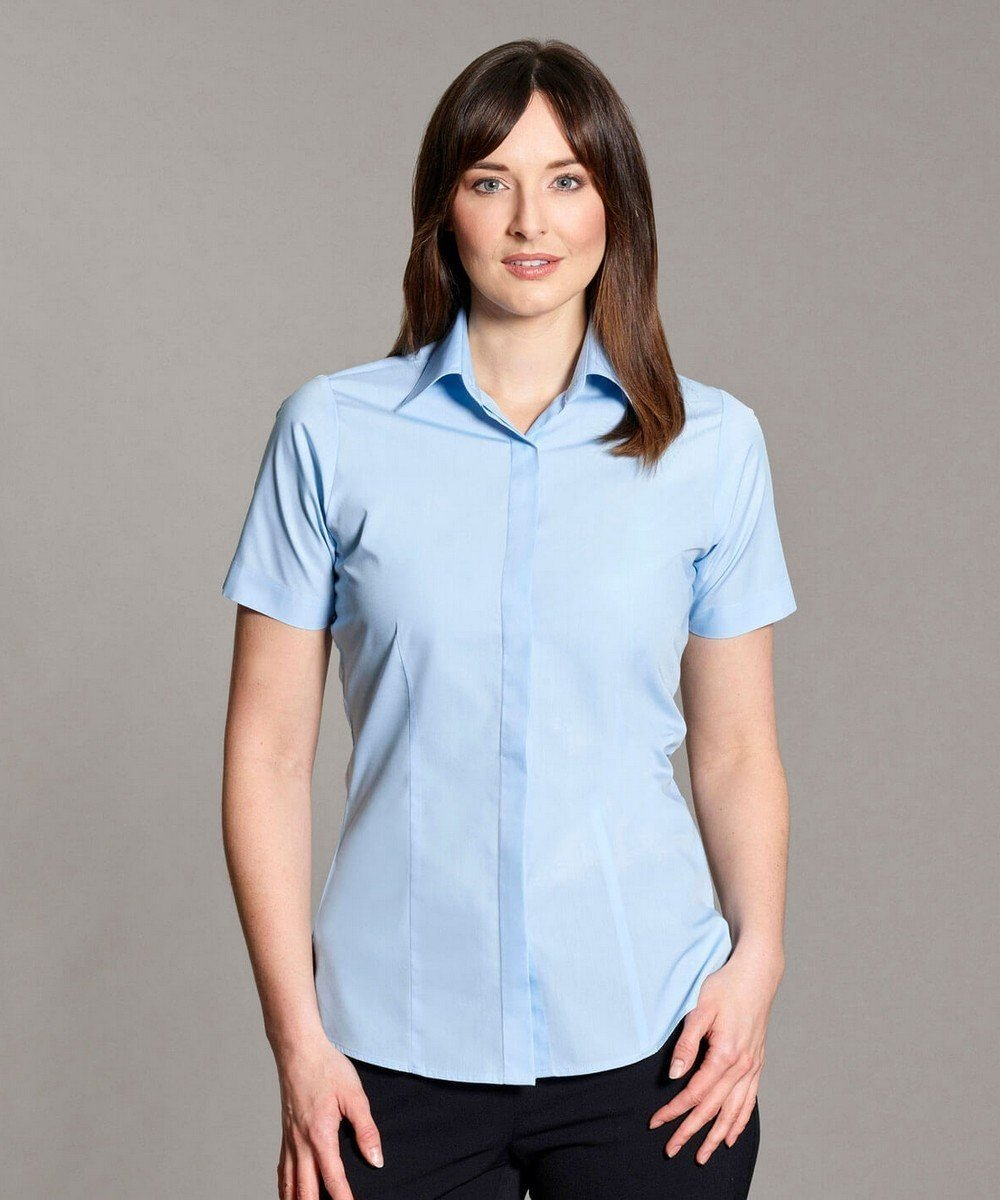 Williams Womens Fly Front Blouse Light Blue Colour Short Sleeve
