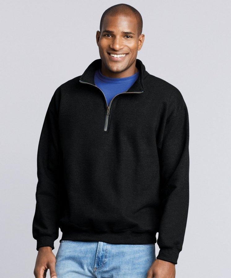 PPG Workwear Gildan Heavy Blend Vintage Zip Neck Sweatshirt 18800 Black Colour