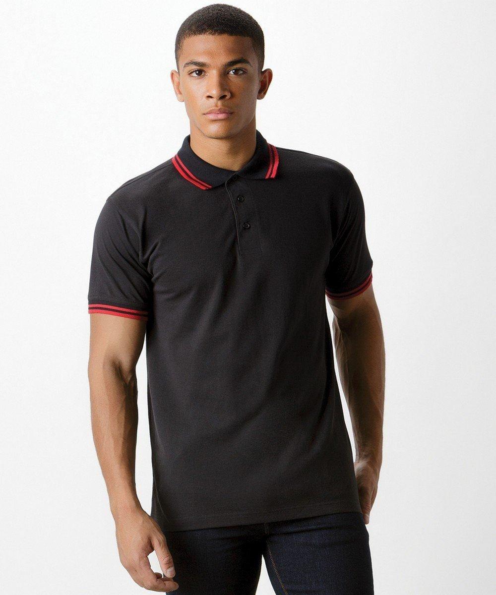 PPG Workwear Kustom Kit Tipped Polo Shirt KK409 Black and Red Colour