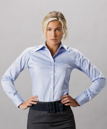PPG Workwear Kustom Kit Ladies Long Sleeve Oxford Shirt KK702 Light Blue Colour