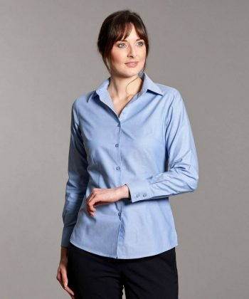 PPG Workwear Disley Womens Oxford Blouse Light Blue Colour Long Sleeve