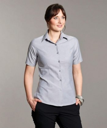 PPG Workwear Disley Womens Oxford Blouse Silver Colour Short Sleeve