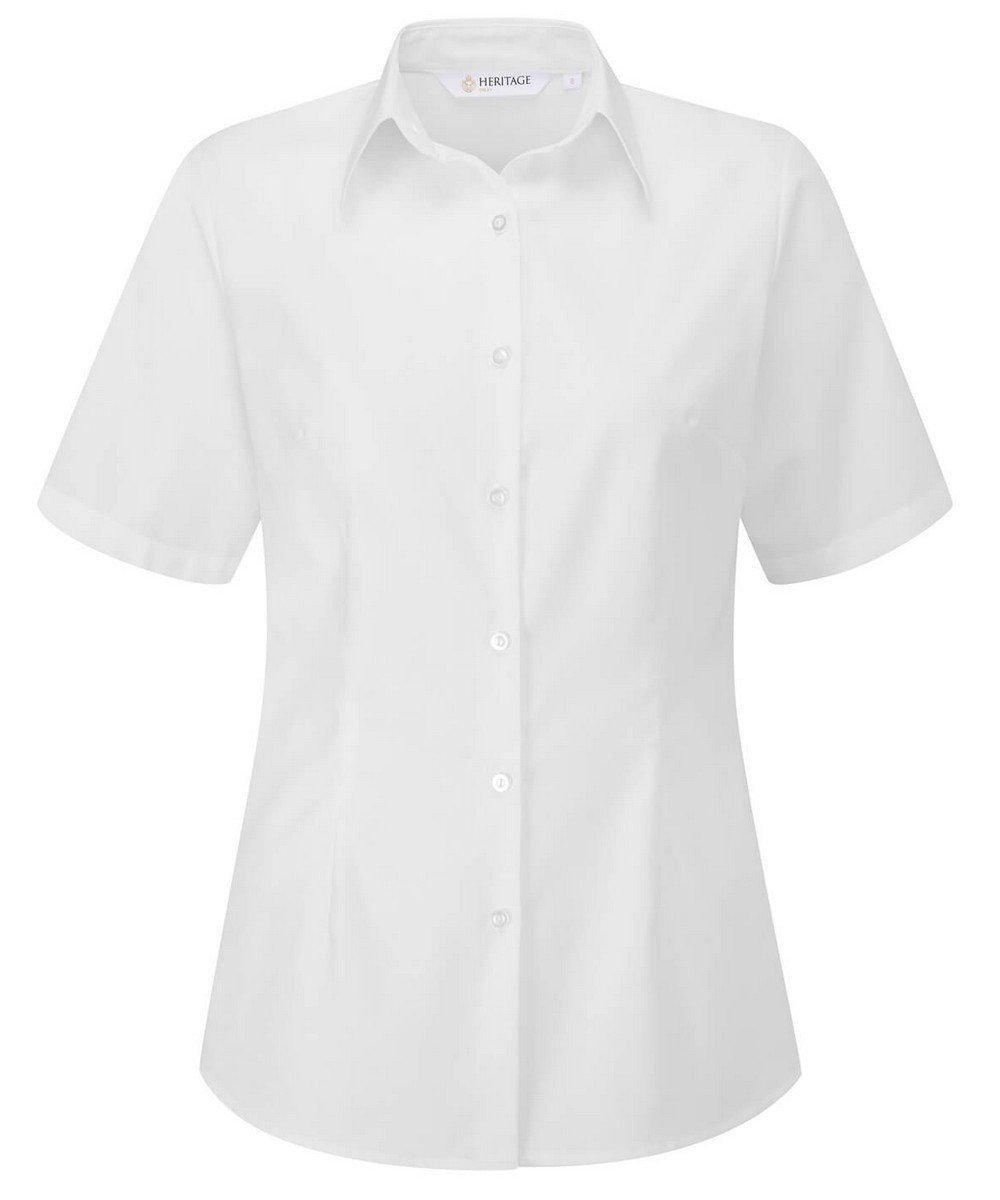 PPG Workwear Disley Womens Oxford Blouse White Colour Short Sleeve