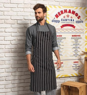 Premier Classic Stripe Bib Apron Without Pocket PR110 Black Colour with White Stripes