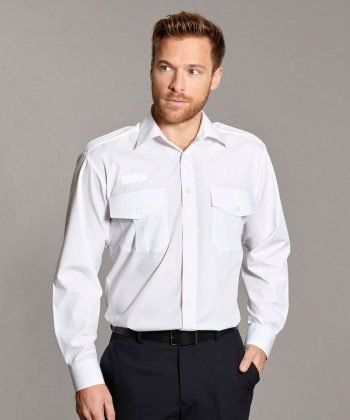 Williams Mens Pilot Shirt with Radio Loops White Colour Long Sleeve