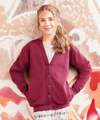 PPG Workwear Jerzees Schoolgear Childrens Sweatshirt Cardigan 273B Burgundy Colour